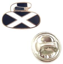 Scotland Saltire Curling Stone Enamel Lapel Pin Badge T199