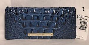 Brahmin Melbourne ADY Slim Bifold Leather Wallet Clutch MARITIME Ocean Blue NWT