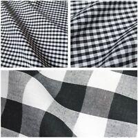 Black & White Corded Polycotton Gingham Fabric - 3 Sizes (Per Metre)