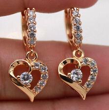 18K Gold Filled - Hollow Heart Drop Topaz Zircon Party Earrings Lover's Gift