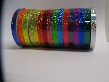 ANY 6 Color Glittering Tape 1/4 Inch x 25feet, Holographic Sequins Sparkle