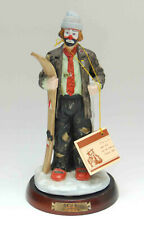 Emmett Kelly Flambro Skier Figurine Statue Wooden Base With Hang Tag