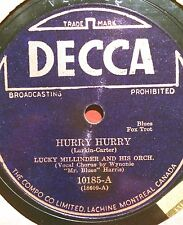 LUCKY MILLINDER Hurry Hurry DECCA 10185 BROADCASTING PROHIBITED Canada 78