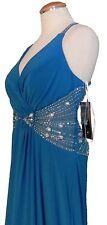 Blue Turquoise Gown Beaded Long Dress Womens 12 Full Length Halter NWT $210