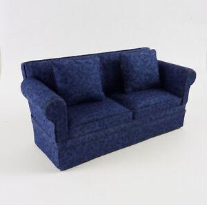 Dollhouse Miniature Cara Living Room Sofa, Navy, C200