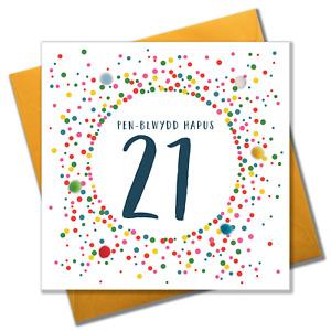 Welsh 21st Birthday Card, Penblwydd Hapus, Dotty 21, Pompom Embellished