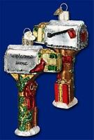 WELCOME HOME MAILBOX OLD WORLD CHRISTMAS GLASS POSTAL MAIL ORNAMENT NWT 32079