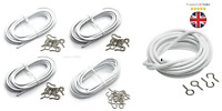 Net Curtain Wire White Window Cord Cable Rod Voile HOOKS & EYES Multi Lengths *