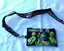 Black Teenage Mutant Ninja Turtles Lanyard ID Badge Fast Pass Holder Nickelodeon