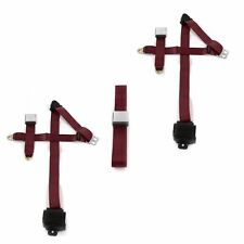 Ford 1957 - 1959 Airplane 3pt Burgandy Retractable Bench Seatbelt Kit - 3