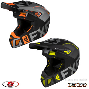 New FXR Clutch Evo Helmet Snowmobile Motocross Black/Char/Org LG