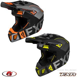 New FXR Clutch Evo Helmet Snowmobile Motocross Black/Char/HiVis/Org LG XL 2XL