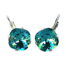 Aqua Carribean Blue Cushion Cut Square Stone Earrings with Crystals by Swarovski