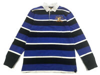 Rugby Ralph Lauren Striped Gothic RLRFC Black Blue White Size XL Mens Polo Shirt