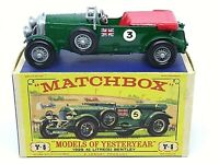 Matchbox Yesteryear Y5-2 1929 4½ Litre Blower Bentley D3 Box (RARE No.3 DECALS)