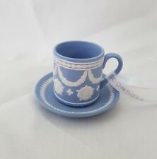 ❀ ڿڰ ❀ Wedgwood Miniature Tasse à Thé & Soucoupe blue jasperware Décoration de Noël ❀