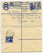 SOUTH AFRICA REGISTERED STATIONERY 1953 UPRATED 1/- + 3d PIETERMARITZBURG to GB