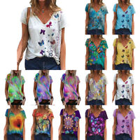 Summer Women Short Sleeve T-Shirt Print Tunic Tops Casual Tee Blouse Plus Size