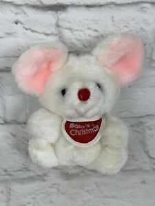 Vtg Russ Berrie Baby's 1st Christmas Mouse Plush First Stuffed Animal Lovey Toy