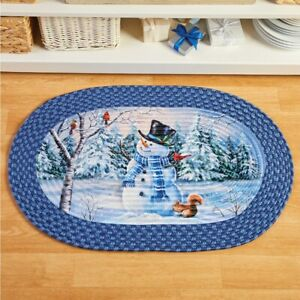 Frosty The Snowman & Woodland Friends Braided Christmas Home Kitchen Accent Rug
