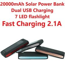 20000mAh Outdoor Solar Power Bank Dual USB Fast Charger 2.1Amp w/LED Flashlight