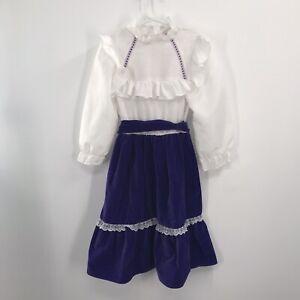Vintage Girls Dress Gunne Sax Style 70s Ren Boho 6x ILGWU Velvet
