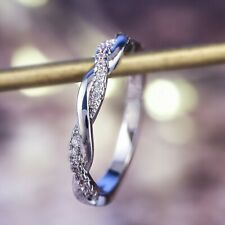 White Sapphire Infinity Ring Size 6 Elegant 925 Silver Party Rings For Ladies
