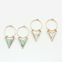 Fashion Triangle Geometric Turquoise Pendant Hoop Loop Earrings Jewelry Little