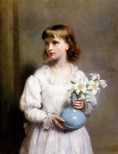 Dream-art Oil painting eden upton eddis - the blue vase nice young girl & flower