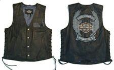 Harley-Davidson MENS MEDIUM Leather Vest HONOR Side Laces Wings 97046-08VM EUC