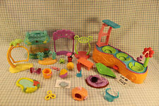Littlest Pet Shop Accessory Lot - Frog Lily Pad Stand Water Bottle Hats Flowers