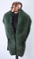 "Finnish Saga Furs Deep Forest Green Fox Fur Shoulder Wrap Scarf Boa Stole 70"""