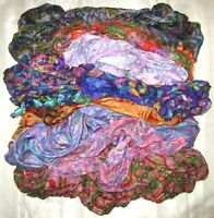 UK LOT PURE SILK Antique Vintage Sari REMNANT Fabrics 100 GRAMS #ABCR6