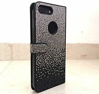 Faded Black Made with Swarovski Crystal Bling Card Wallet Case iPhone 7/8 Plus