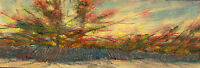 Hyannis Cape Cod Beach Fence 3x12 in. Original Oil on canvas  Hall Groat Sr.