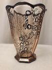 § Vase rose à godrons Art-Déco, décor en filigrane d'argent de style St-Graal