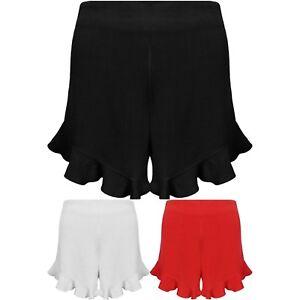 New Frill Hem High Waisted Linen Ruffle Shorts Party Hot Pants Casual Skorts