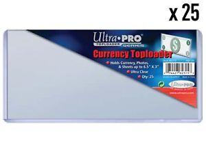 25 x Ultra PRO Regular Currency Toploader Bank Bill Toploaders Top Loader