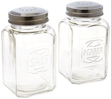 Vintage Style Clear Glass Embossed Salt & Pepper Shaker Set Large Stove Styl