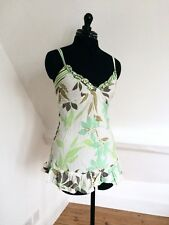 WAREHOUSE White/Green Floral Strappy Crinkle Vest Top/Cami. Silk/Cotton. Sz 6.