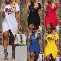 Women Love Heart Pattern Flag Print Dress Short Sleeve Split Mini Dress DZ