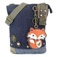 Chala Purse Handbag Denim Canvas Crossbody With Key Chain Tote Bag Foxy Fox