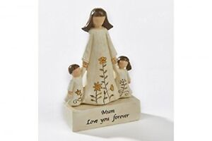 Mum, Love you Forever Wooden Ornament, Angel Mother and Children carved Figurine