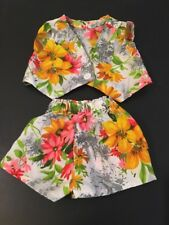 Vintage Handmade Toddler Girls Outfit Fabruc Floral Shorts And Vest Doll