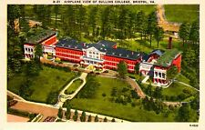 Vintage Color Linen Postcard - Airplane View of Sullins College, Bristol, Va