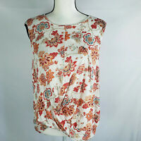 J.Jill Women's L Large Love Linen Draped Front Twist Sleeveless Floral Top AD
