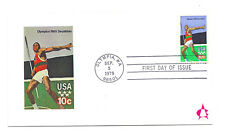 1790 10c Olympic Javelin, Andrews, sijngle, on a card, FDC