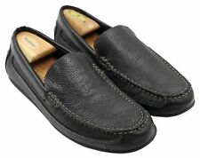 Faded Glory JIMMY Mens Black Leather Slip-On Comfort Loafers Shoes Size 10