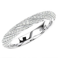 0.35 Carat Twisted Pave Set Round Diamonds Half Eternity Ring In 9K White Gold