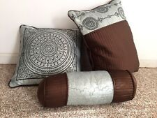 3 Accent DECORATIVE BEDROOM Pillows Light BLUE & BROWN Embroidered Design